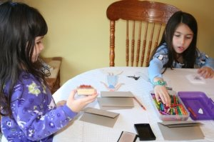 Girls helping with 2008 Christmas Cards