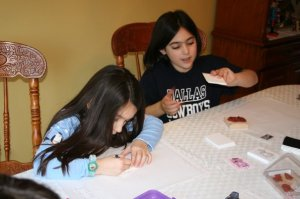 Girls helping out with cards in 2008