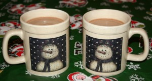 Two mugs of hot chocolate