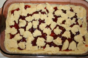 Raspberry Squares before they're baked