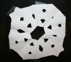 Paper snowflakes made by the kids
