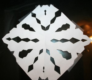 Paper snowflakes made by our girls