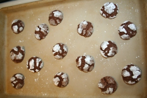Chocolate Crinkles on baking sheet