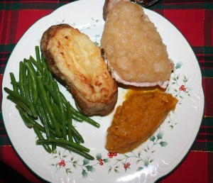 Roasted pork chops, sauteed green beans, butternut squash, twice baked potatoes, applesauce