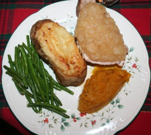 Christmas Dinner: pork chop with homemade applesauce, green beans, twice baked potatoes, butternut squash