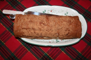 The Mocha Roll, before the first piece has been cut.