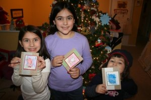 Girls showing off cards 2008