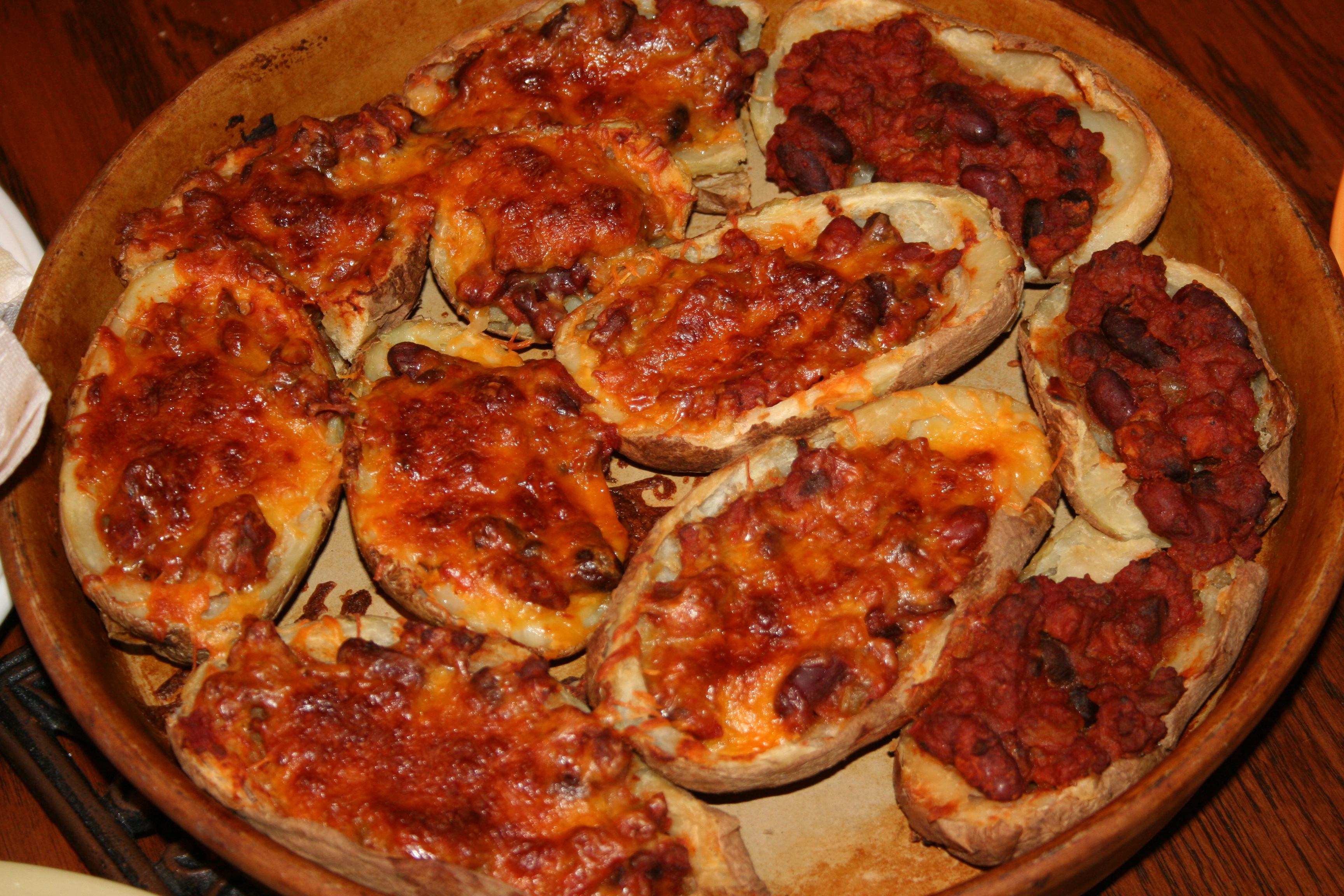 Loaded Potato Skins Chips Loaded Chili Potato Skins