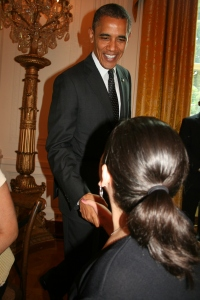 One of my favorite photos from our day: Caroline meeting and shaking hands with President Obama.