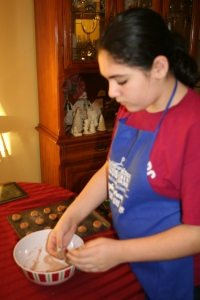 At Christmas time I need as much help as I can get so it's all hands on deck for cookie baking!