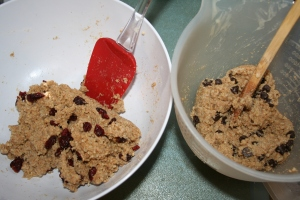 Splitting the batch in half allowed for using both craisins and chocolate chips as filling options.