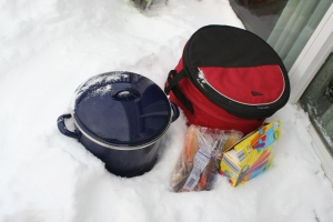 The good thing about losing power in the winter: we just put everything outside to keep it cold. A few things froze, but otherwise we were in good shape and didn't really lose any food.