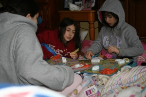 The Game of Life played in sleeping bags to stay warm.