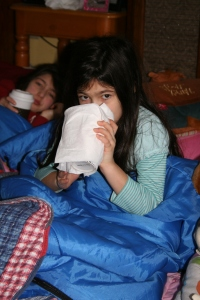 Hot chocolate in sleeping bags every morning in the living room.