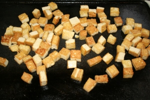 This time we grilled the tofu on the countertop griddle, but in the past we have used a frying pan.