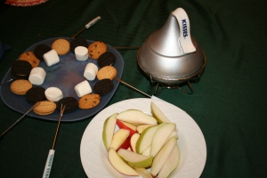 Our Sunday night reward for making it through the days without power: Chocolate Fondue!