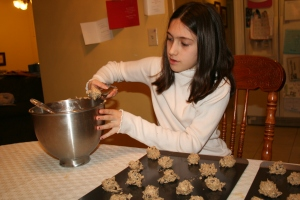 Using the larger of my two Pampered Chef scoops makes our cookies more uniform.