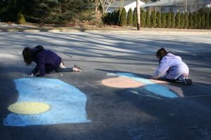 A sure sign that spring is on the way: the sidewalk chalk is out!