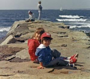 Jen and Chris on the rocks as kids