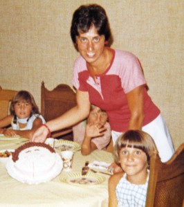 Mom and me at my birthday in August 1977.