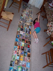 We received over 14 feet of postcards from all over the world to be used in Alex's new room.
