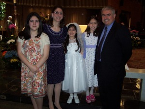 Celebrating Alexandra's First Communion, our last celebration of this kind.
