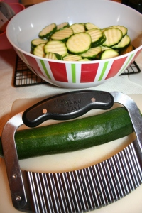 I used my Pampered Chef slicer to make prettier sliced zucchini.