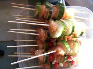 Marinade first, skewer second.