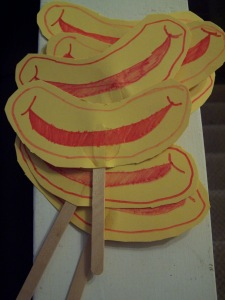 Elizabeth created Ronald McDonald smiles on a stick for all her friends to take home with them.