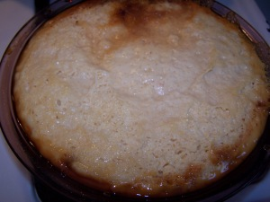 This is how our flan looked when it came out of the oven, before we flipped it over.