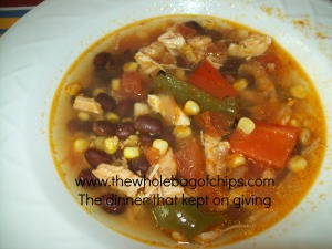 Tortilla soup preparation was fast and easy and it simmered in the crock pot all day long on Monday.