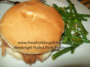 I don't usually think of pulled pork sandwiches as a week night meal at our house, but these were a hit!