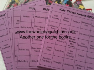 Bingo cards were easy to make online, just type in all the names for the squares and print!