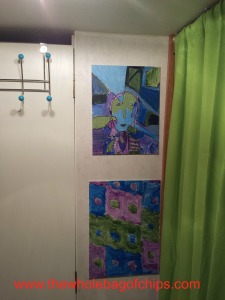 Bright colors and the kids' art helped to brighten up our space.