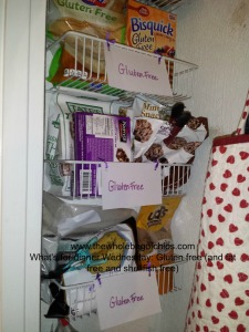 Keeping everything in one spot in our pantry so we don't have to go searching for the gluten free ingredients and snacks.