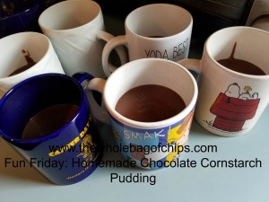 A double recipe makes about six mugs of pudding.